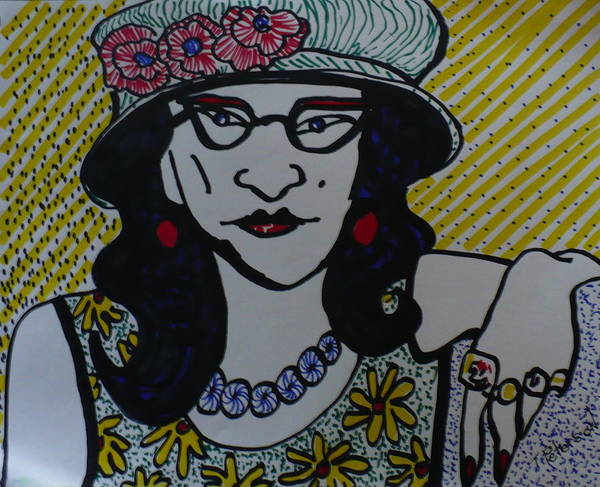 Woman Poster featuring the drawing Fashion Statement by Todd Peterson