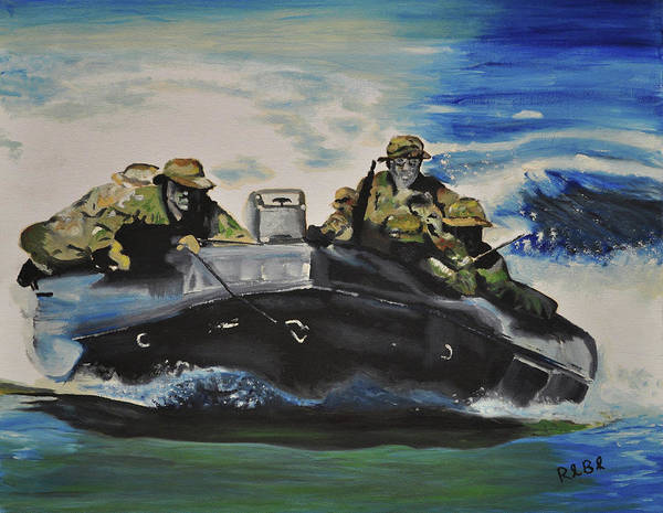 Navy Seals Poster featuring the painting Fast With Fury by Ruben Barbosa
