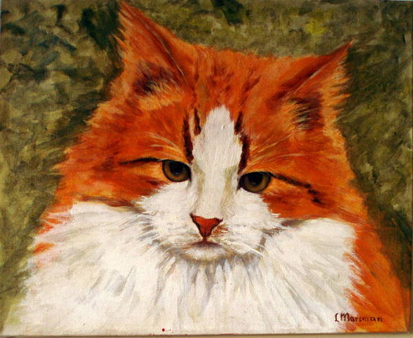 Cats Poster featuring the painting Fat Cat by Lia Marsman
