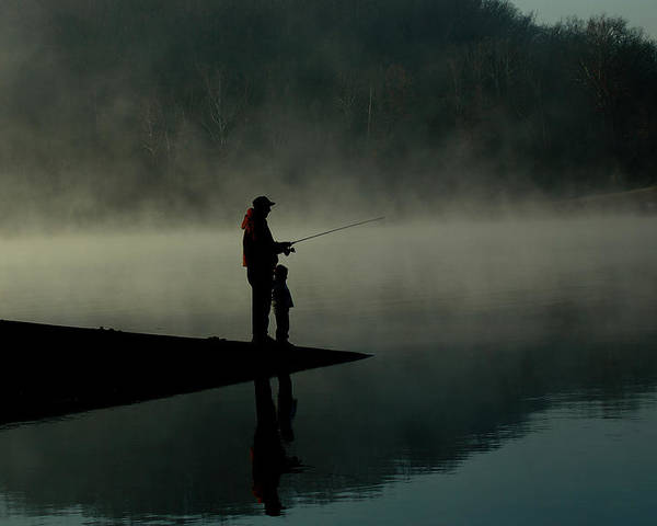 Father Poster featuring the photograph Father And Son Fishing by Shawn Wood