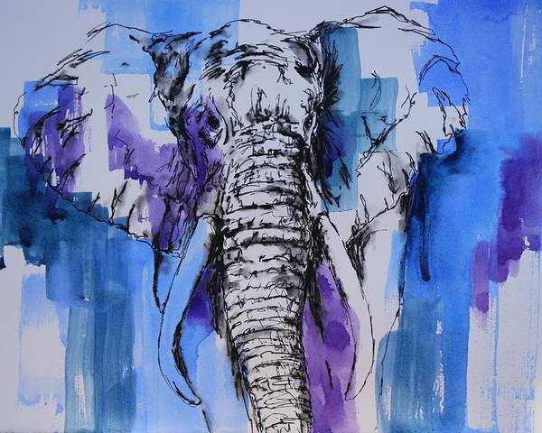 Watercolors Poster featuring the painting Father Elephant by Tara Moorman