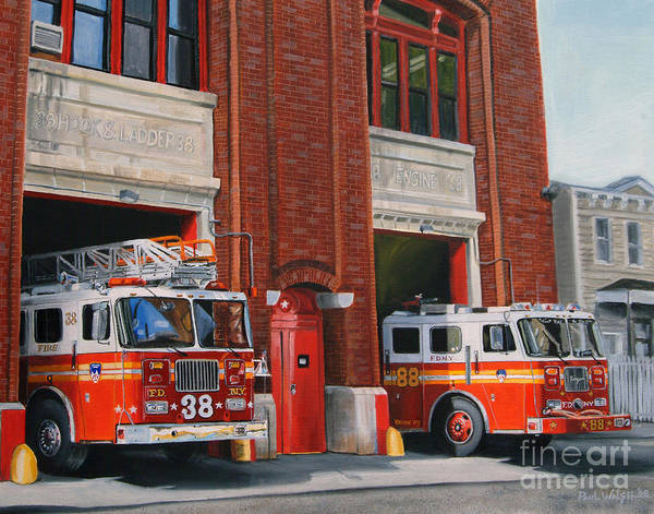 Fire House Poster featuring the painting Fdny Engine 88 And Ladder 38 by Paul Walsh
