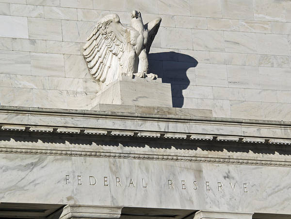 Fed Poster featuring the photograph Federal Reserve Eagle Detail Washington Dc by Brendan Reals