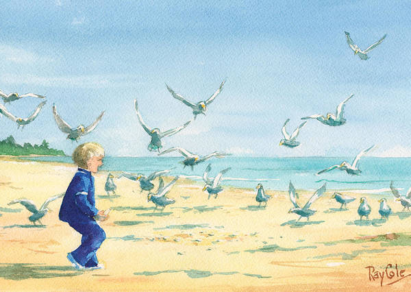 Boy On Beach Poster featuring the painting Feeding Joy by Ray Cole