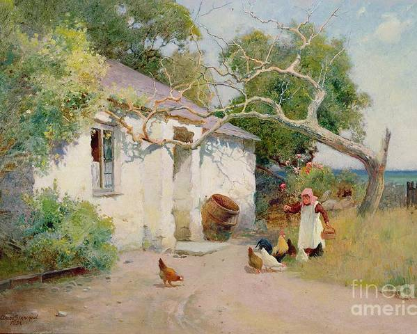 Feeding Poster featuring the painting Feeding The Hens by Arthur Claude Strachan