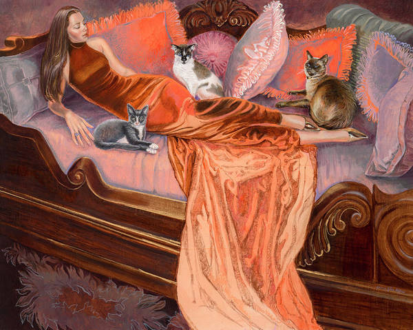 Fashion Illustration Poster featuring the painting Feline Fashion Harem by Barbara Tyler Ahlfield