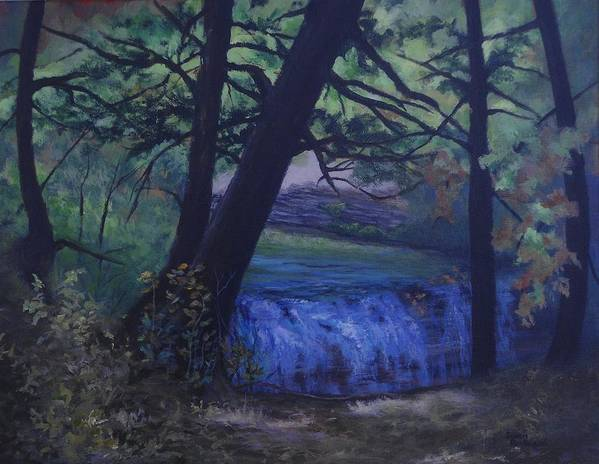 Forest Poster featuring the painting Felkers Falls, Stoney Creek, On by Susan Bartolacci