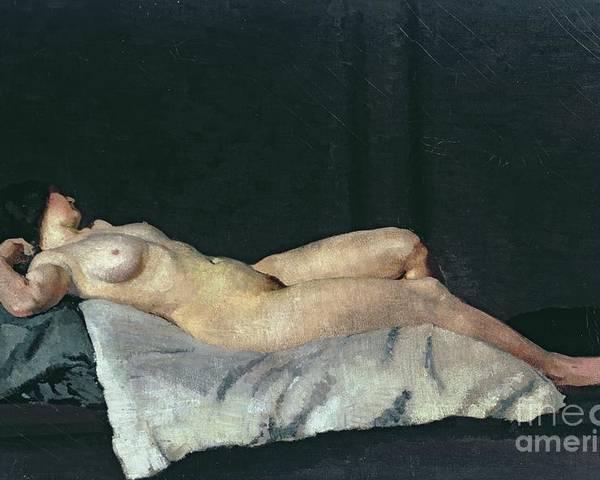 Female Figure Lying On Her Back Poster featuring the painting Female Figure Lying On Her Back by Dora Carrington