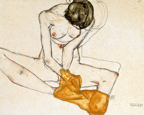 Female Nude Poster featuring the painting Female Nude by Egon Schiele