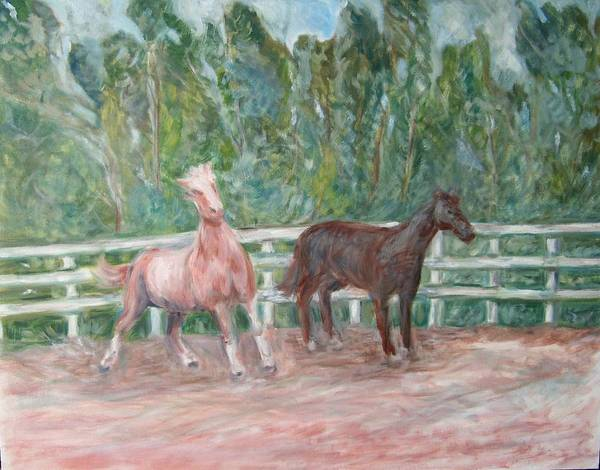 Horse Landscape Animals Poster featuring the painting Fenced In by Joseph Sandora Jr