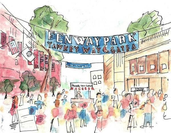 Baseball Poster featuring the painting Fenway Park by Matt Gaudian