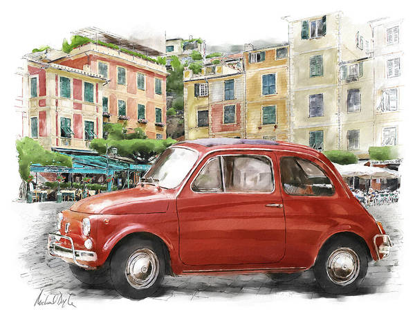 Doyle Watercolour Paintings Poster featuring the painting Fiat 500 Classico by Michael Doyle
