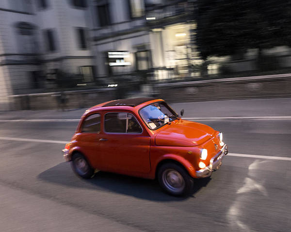 Fiat 500 Poster featuring the photograph Fiat 500, Italy by David Ortega Baglietto