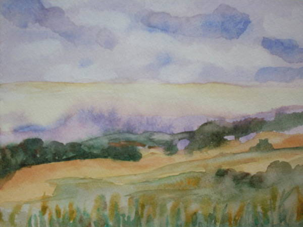 Watercolor Landscape Poster featuring the painting Field And Sky 1 by Warren Thompson