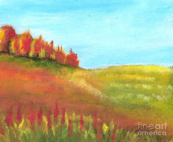 Landscape Poster featuring the painting Field In Autumn by Vivian Mosley