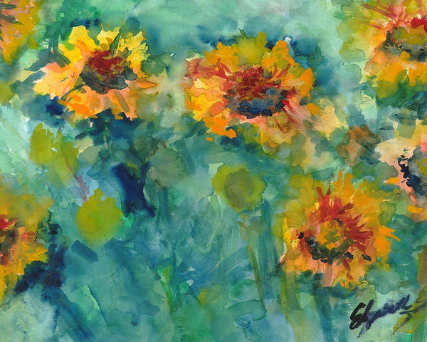 Yellow Poster featuring the painting Field Of Daisies by Elizabeth Shrum