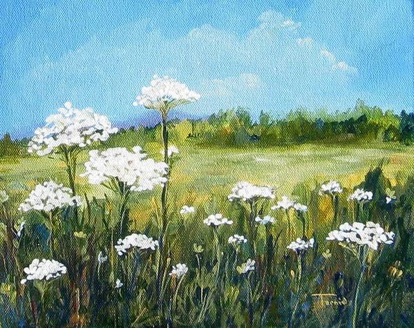 Flowers Poster featuring the painting Field Of Lace by Torrie Smiley
