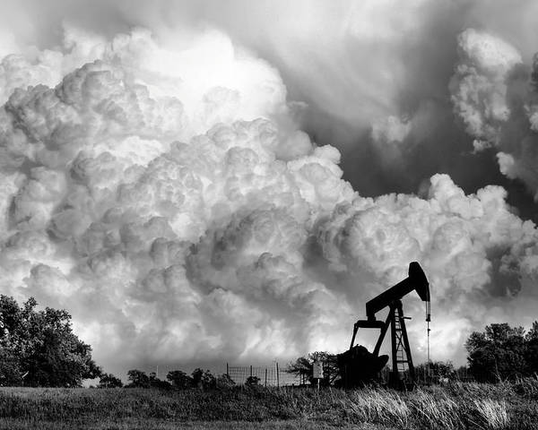 Oil Rig Poster featuring the photograph Field of Nightmares by Karen Scovill