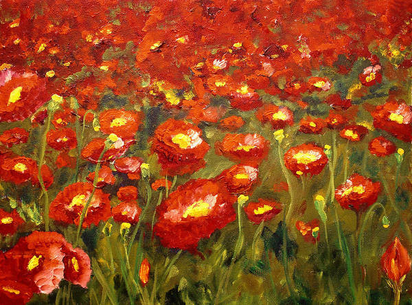 Poppies Poster featuring the painting Field Of Poppies by Mary Jo Zorad