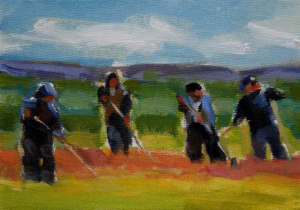 Landscape Poster featuring the painting Field Workers In Watsonville - Study by Merle Keller