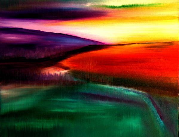 Landscape Painting Poster featuring the painting Fields by Viviana Puello Villa