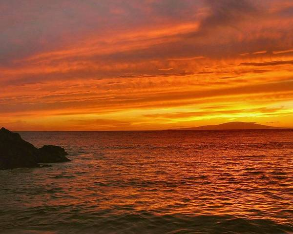Hawaii Poster featuring the photograph Fiery Makena Sunset by Stephen Vecchiotti