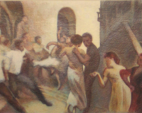 Dancing In The Street Poster featuring the painting Fiesta Espanola by James LeGros