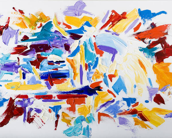 Abstract Yellow Poster featuring the painting Fiesta by Shannon Grissom
