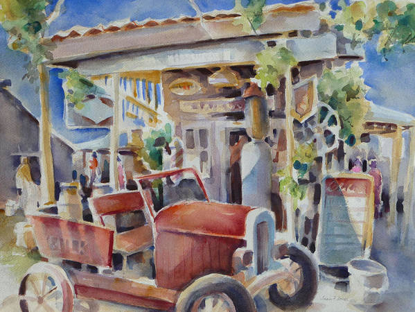 Old Gas Station Poster featuring the painting Fill 'er Up by Joan Jones