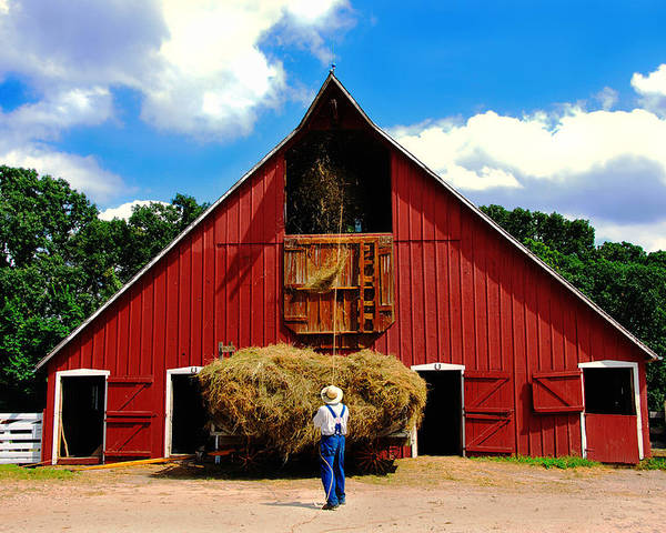 Barn Poster featuring the photograph Filling The Haymow by Lyle Huisken
