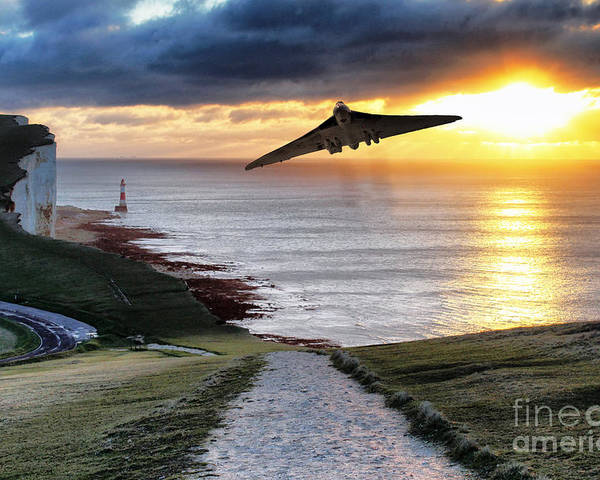 Xh558 Poster featuring the digital art Final Beachy Head Pass by J Biggadike