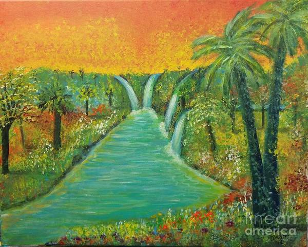 Water Fall Poster featuring the painting Finding That Place by Deyanira Harris