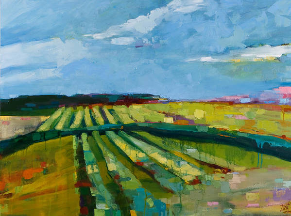 Landscape Poster featuring the painting Fine Fields by Michele Norris