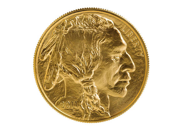 Gold Poster featuring the photograph Fine Gold Buffalo Coin On White Background by Thomas Baker