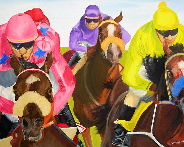 Horse Racing Poster featuring the painting Finish Line by Michael Lee