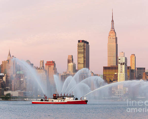 Clarence Holmes Poster featuring the photograph Fire Boat And Manhattan Skyline I by Clarence Holmes