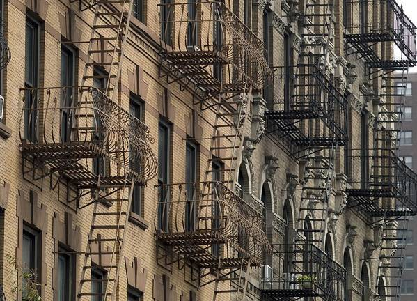 History Poster featuring the photograph Fire Escapes On Brownstone Apartment by Everett