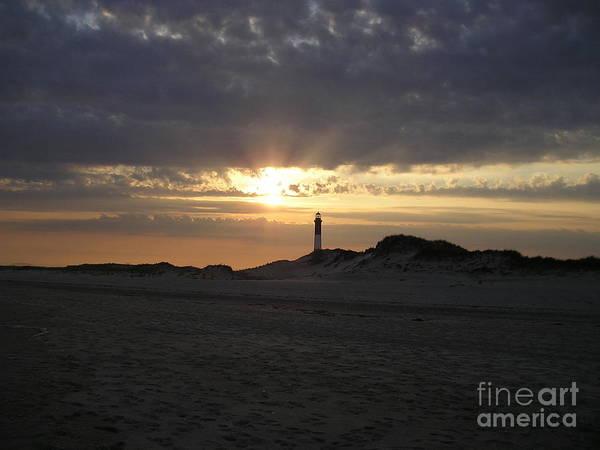 Fire Island Lighthouse Poster featuring the photograph Fire Island Lighthouse At Sunset by Jacqueline Gutierrez