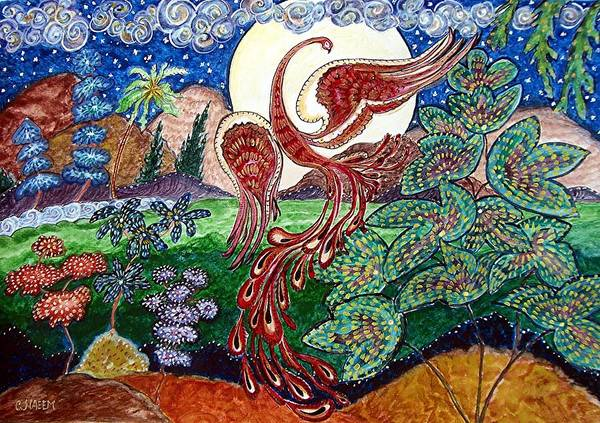 Folk Poster featuring the painting Firebird by Caroline Urbania Naeem