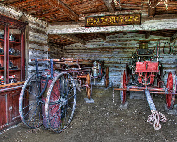 Fire Poster featuring the photograph Firefighting Engine Company No. 1 - Nevada City Montana Ghost Town by Daniel Hagerman