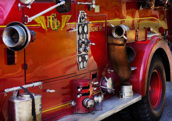 Suburbanscenes Poster featuring the photograph Fireman - Engine No 2 by Mike Savad
