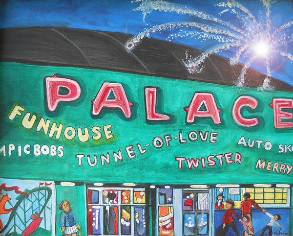 Asbury Park Art Poster featuring the painting Fireworks At The Palace by Patricia Arroyo