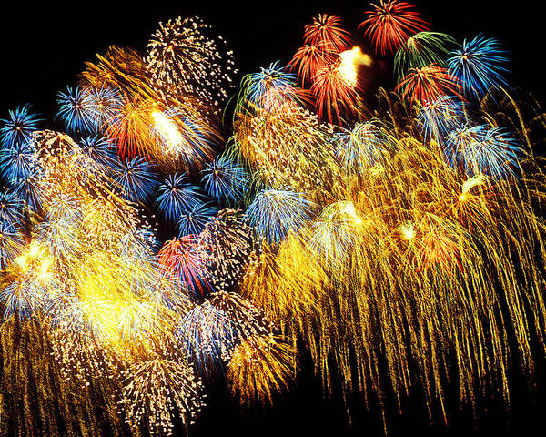 4th Of July Poster featuring the photograph Fireworks Exploding by Garry Gay
