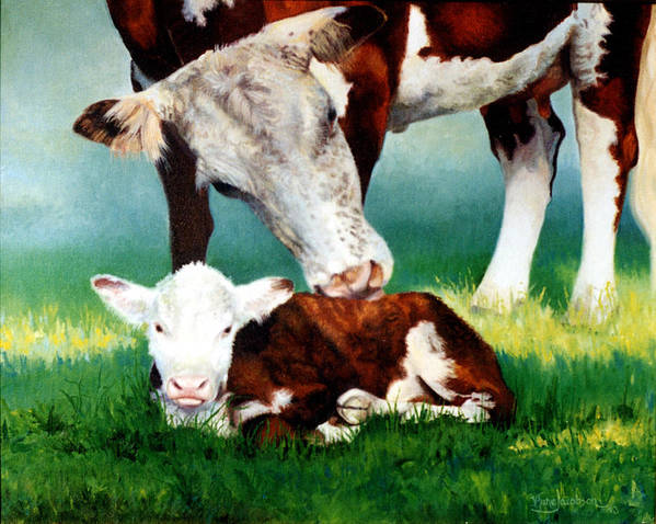 Cow Poster featuring the painting First Bath by Valerie Aune