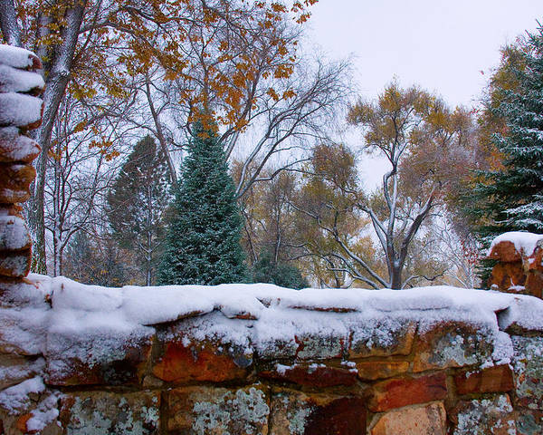 Country Poster featuring the photograph First Colorful Autumn Snow by James BO Insogna