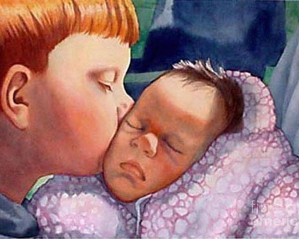 Portrait Poster featuring the painting First Kiss by Gail Zavala