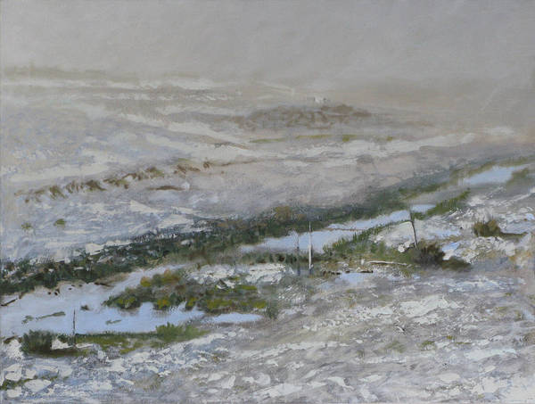 Atmospheric Ditch Fence Field Fog Gray Mist Montana Moody Nature Sbudued Snow Spindrift Storm Tonali Poster featuring the painting First Snow by Robert Bissett