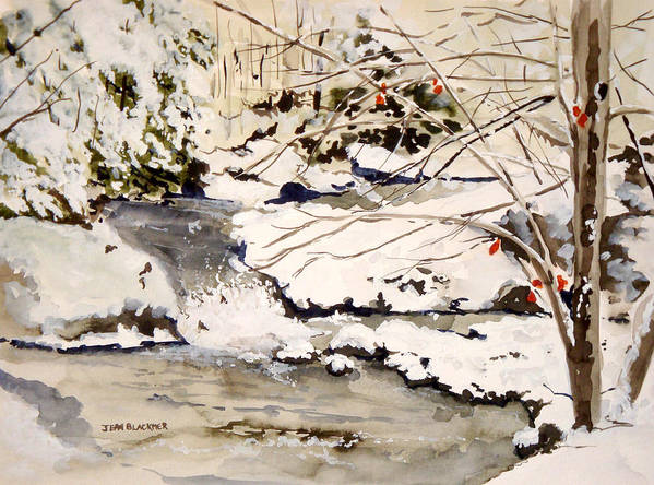 Winter Scene Poster featuring the painting First Snowfall by Jean Blackmer