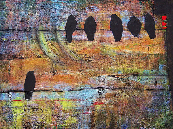Black Poster featuring the painting First Step Is The Dream by Blenda Studio