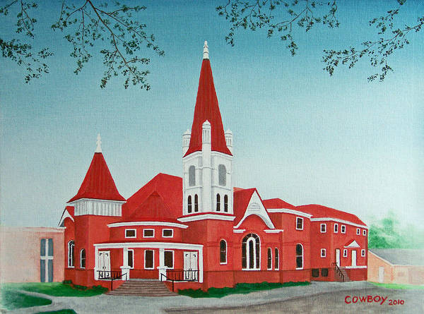Church Poster featuring the painting First United Methodist Church Terrell Tx by Darren Yarborough